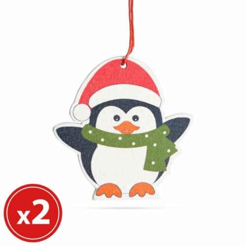 Karácsonyfadísz szett - pingvin - fából - 8 x 6 cm