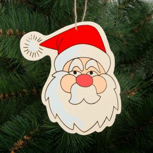 Karácsonyfadísz - fa, mikulás - 16 x 14 cm
