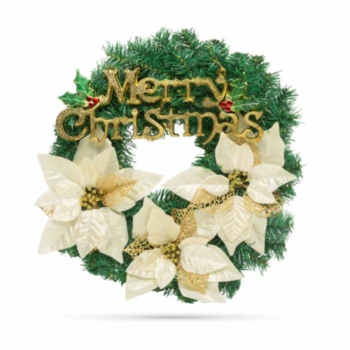 Karácsonyi koszorú - arany színű - 40 cm