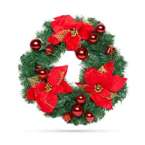 Karácsonyi koszorú - piros színű - 40 cm