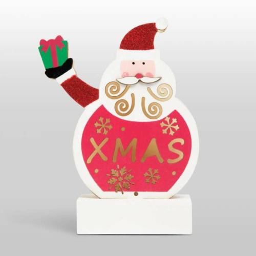 Karácsonyi LED asztali dekor fából - mikulás