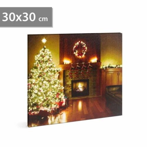 Karácsonyi LED-es hangulat kép - fali akasztóval, 2 x AA, 30 x 30 cm