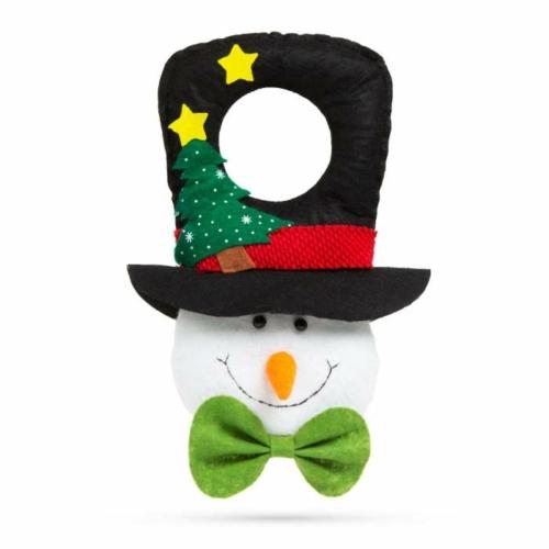 Karácsonyi kilincs dekor - hóember fekete kalapban - 29 x 18,5 cm