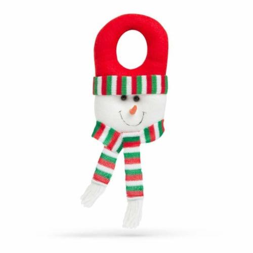 Karácsonyi kilincs dekor - hóember piros sapkában - 30 x 12 cm