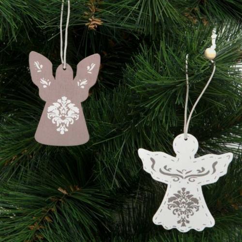 Karácsonyfadísz - angyalka - akasztható - fa - 7 x 5 cm