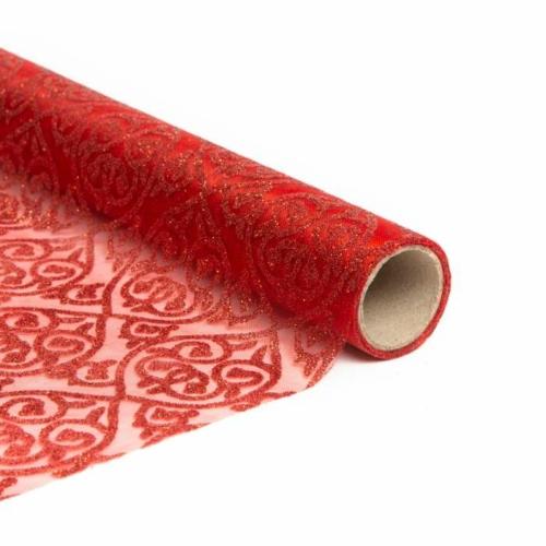Karácsonyi asztalterítő futó - piros színű - 180 x 28 cm
