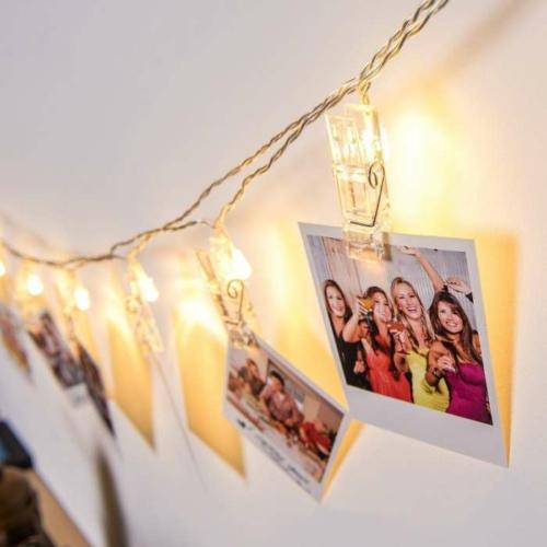 Karácsonyi LED dekor csipesz - 10 LED - melegfehér - 2 x AA