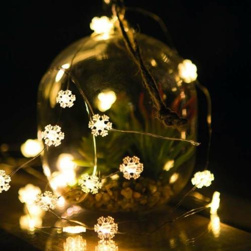 Karácsonyi LED fényfüzér - 20 LED - 2 méter - melegfehér - 3 x AAA