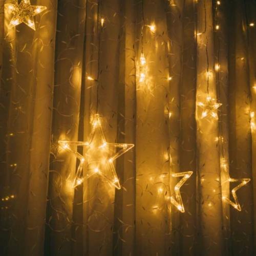 Karácsonyi LED fényfüzér - csillagok - melegfehér - 6 nagy, 6 kicsi - 3 x 1 m