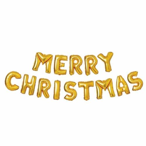 3D Karácsonyi felírat lufikból arany betűkkel