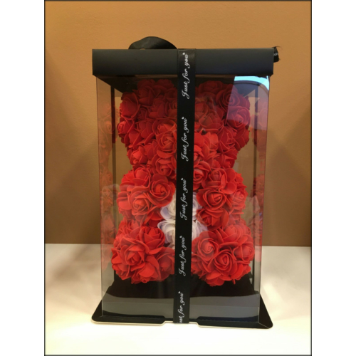 Rózsamaci - Pirosvirágmaci fehér szívvel - 24 cm