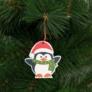 Kép 2/3 - Karácsonyfadísz szett pingvin, fából